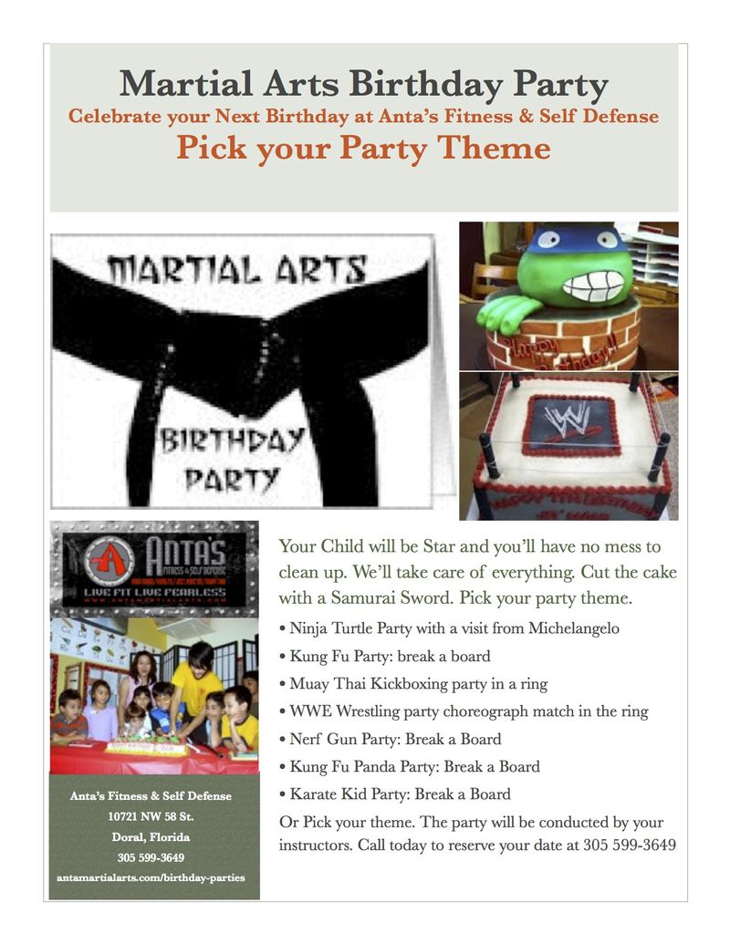 Martial arts birthday party flyer 2014